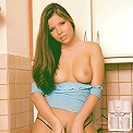 Hungarian hottie gets naked in the kitchen