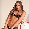Tall & elegant brunette lina looks hot in her bra & panties