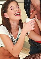 Little Caprice gets her boobies wet with milk and fucks