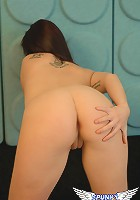 Cassie Leanne bends over and shows off her nice tight pink pussy