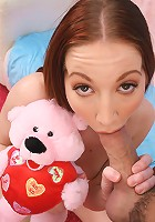 Redhead 18 year old amateur Cadence Caliber pussy banging and cumshot