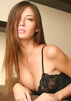 Gorgeous Jessica taking off her black nighty