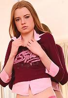 Ema wearing pink sheer panties