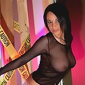 Caution! Nikki is lookin hot in her black mesh outfit including black mesh panties. Hot!