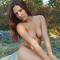 Perky boobies Tara strips outdoors