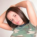 Brunette busty teen in camo