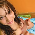 Busty brunette teen pulls panties tight