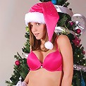 Karen posing in pink for xmas