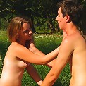 The warm sun and soft grass, combine to make this the perfect spot for an outdoor escapade. Soon, this teen cutie has a cock pushing deep inside of her tender pussy.