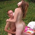 Russian girl fucking outdoors