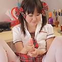 Innocent japanese teenager plays