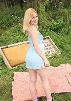 Daring undressing sweetie outside