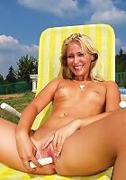 Babe in a bikini fondling vagina