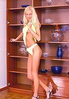 Petite teenie blonde toying pussy
