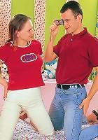 Teenage girlie  sucking two dicks
