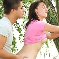 Hottie screwed up against a tree