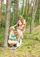 Two forest lesbians toying pussy