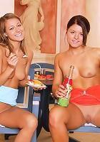 Two cute teen lesbians love pussy