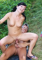 Teenage chick fucking an old fart