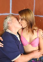 Grey old male fucks a sweet babe