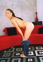 Sexy slut sticks huge dildo deep into her cunt