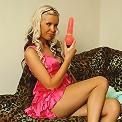 Skinny blonde teen slut Jadwiga playing with dildo in her puissy