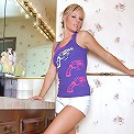 Kaley - Luscious blonde enticingly strips