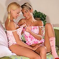 Enticing teen cuties lick and dildo
