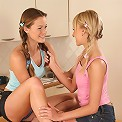 Pigtailed cuties tongue and dildo