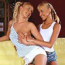 Lovely teens lap and dildo on sofa