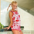 Innocent blonde strips and spreads