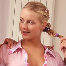 Luscious teens undress and tongue