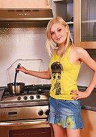 Somethings hot in the kitchen and its this sweet naked teen