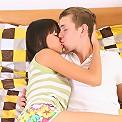 Beautiful brunette teen explores her body using her boyfriend's cock!