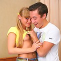 Very pretty blonde teen takes on a hard cock
