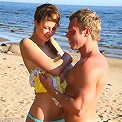 Teen cutie gets fucked nice and deep on beach